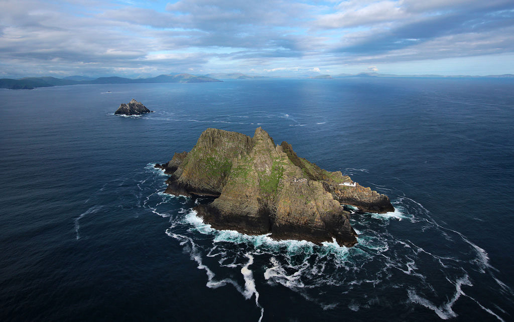 An Aerial view of Skellig Michael, movie set for Star Wars, The Force Awakens.