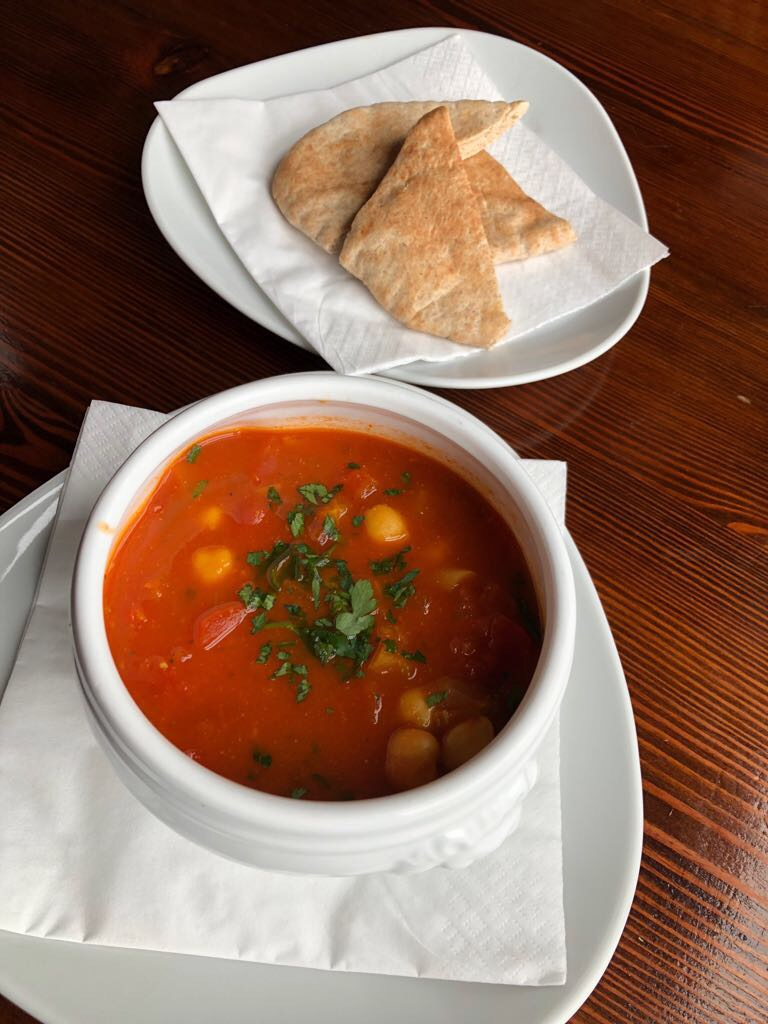 Moroccan chick pea soup whole meal pitta bread