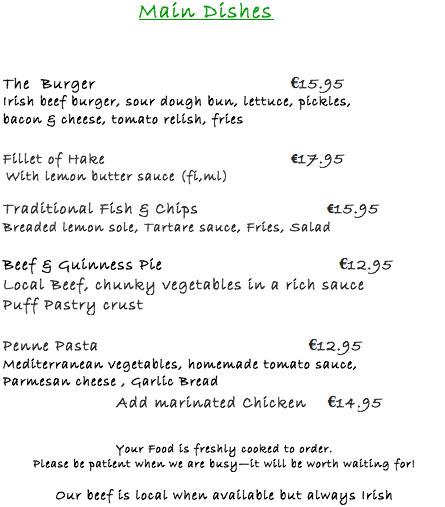 Main meals bridge bar portmagee